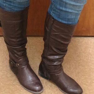 Shoes - Knee high Dark Brown Boots with Buckle Detail